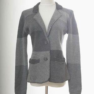 Garnet Hill Size 8 Wool Patchwork Blazer Dark Gray